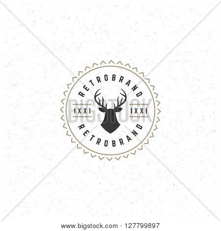 Deer head Design Element in Vintage Style for Logotype, Label, Badge and other design. Hunting club Deer Silhouette Retro vector illustration.