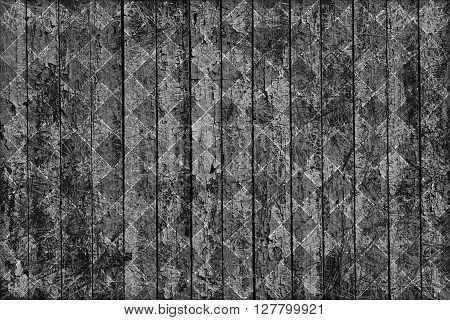 Texture Of Old Grey Painted Wooden Fence Scratched And Rhombus Styled