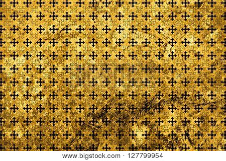 Texture Of Gold Marble Slab Macro Cross Ornament Styled