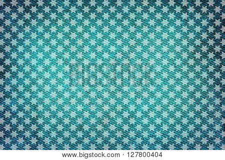 Turquoise Fabric Woven Texture High Contrasted With Vignetting Effect Macro Background White Stars S