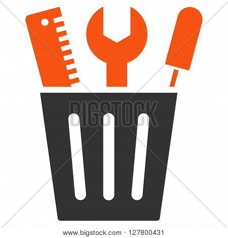 Options Bucket vector icon. Style is bicolor flat icon symbol, orange and gray colors, white background.