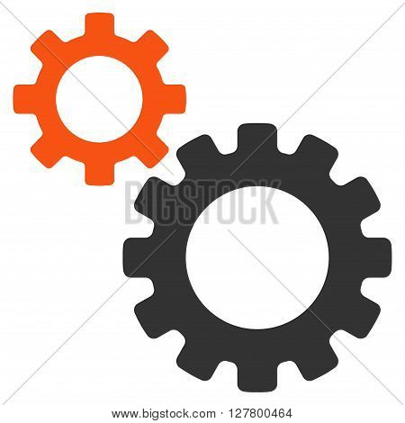 Transmission Gears vector icon. Style is bicolor flat icon symbol, orange and gray colors, white background.