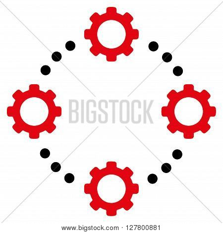 Gear Virtual Connection vector icon. Style is bicolor flat icon symbol, intensive red and black colors, white background.