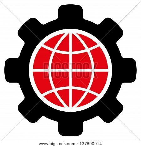 Global Options vector icon. Style is bicolor flat icon symbol, intensive red and black colors, white background.