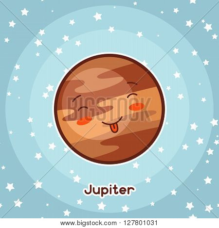Kawaii space card. Doodle with pretty facial expression. Illustration of cartoon jupiter in starry sky.