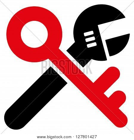 Security Tools vector icon. Style is bicolor flat icon symbol, intensive red and black colors, white background.