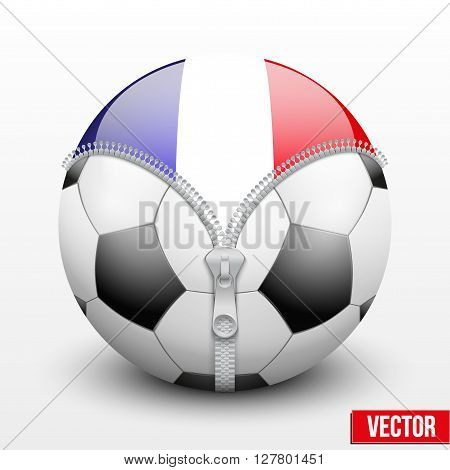France symbol inside football ball. Vector sport Illustration. Isolated.