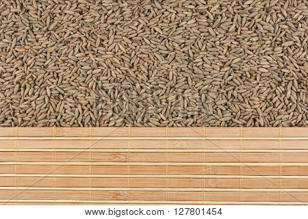 Rye grain and bamboo mat with place for your text