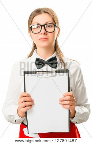 Portrait Of Slim And Beautiful Waitresses Isolated