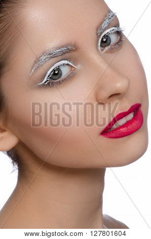 Makeup And Beauty Theme: Portrait Of A Beautiful Young Sexy Girl With Big Beautiful Eyes, Red Lips A