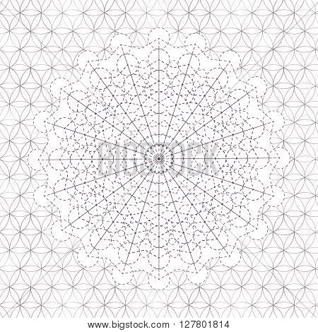 Vector geometric background. Bright pattern. Sacred geometry, flower of life. Bright psychological background. Journey into space. Use for prints, textiles, printing, web sites, logos