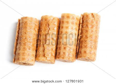 Sweet tube wafer isolated on white background