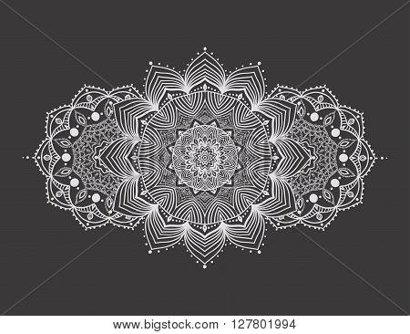 Ornament invitation card with mandala. Geometric circle element made in vector. Mandala for decoration holiday cards, background and sites. Kaleidoscope, medallion, yoga, India, arabic flash tattoos.
