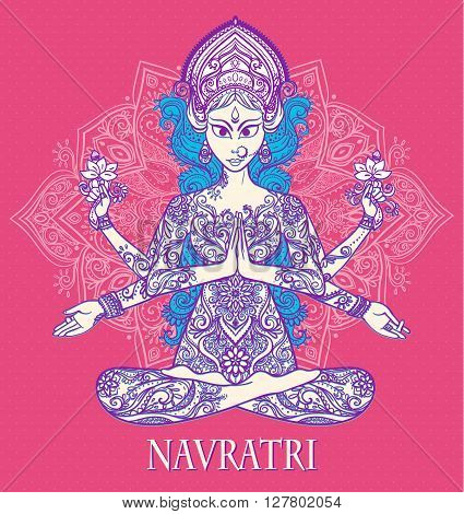 Ornament card with of Maa Durga. Illustration of Happy Navratri and Happy Diwali. Happy Maha Shivaratr. Yoga meditation pose Balance, strength, love, prosperity