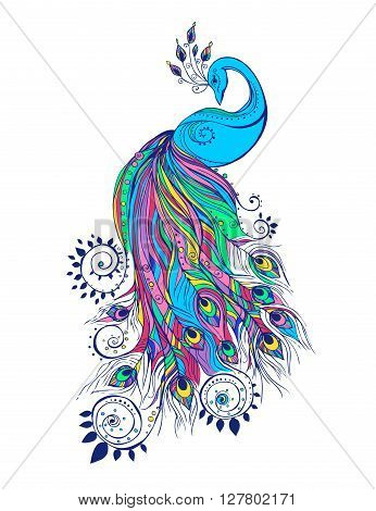 Colorful fashion card with peacock Color bird for the design of textiles, clothing, T-shirts, wallpaper, print, wall stickers. Decoration pattern. Stylish hand drawn map with peacock paisley oriental