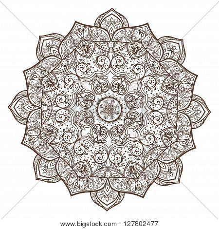 Ornament beautiful card with mandala. Geometric circle element made in vector. Perfect  cards for any other kind of design, birthday and other holiday, kaleidoscope,  medallion, yoga, india, arabic