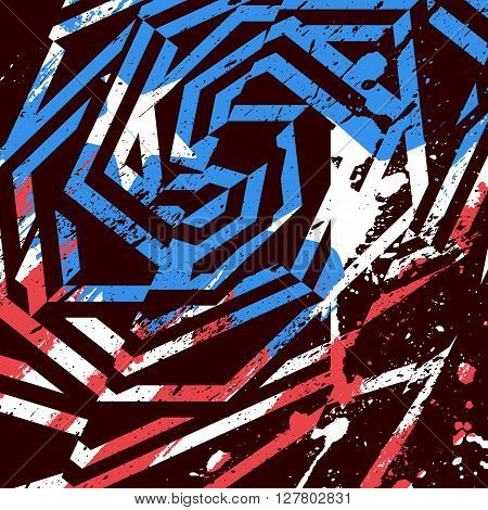 Vector Abstract Grunge Print Design. Dirty Brush Painted Geometric Design With American Flag Colors