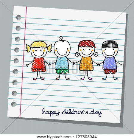 notebook paper happy children day