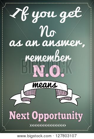 Poster card with Inspirational Quote. No means next opportunity. Modern lettering composition. Good vibes for hope.
