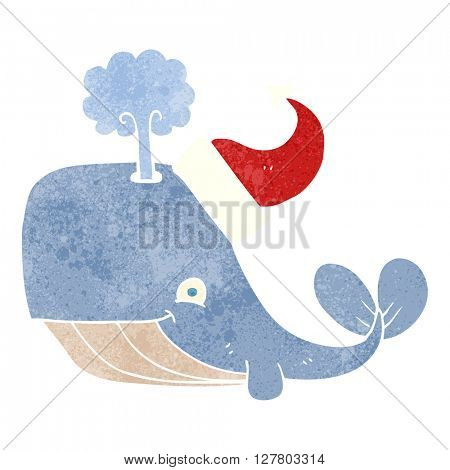 freehand retro cartoon whale wearing christmas hat