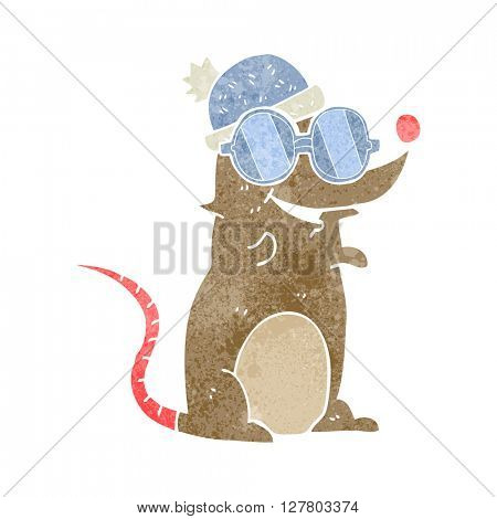 freehand retro cartoon mouse wearing glasses and hat