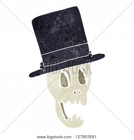 freehand retro cartoon skull wearing top hat