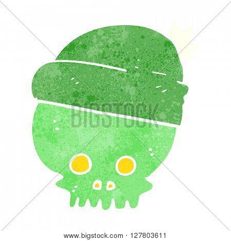 freehand retro cartoon skull wearing hat