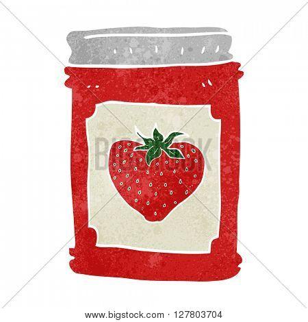 freehand retro cartoon strawberry jam jar