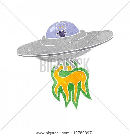 freehand retro cartoon alien flying saucer