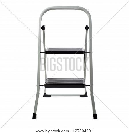 Two steps metal ladder over isolated white background