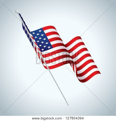 A realistic illustration of an American flag on a flag pole waving in the wind. Vector EPS 10 available.