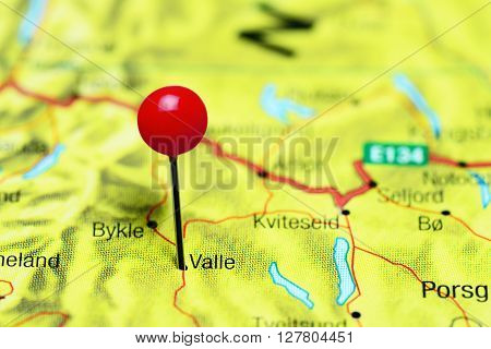 Valle pinned on a map of Norway