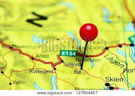 Bo pinned on a map of Norway