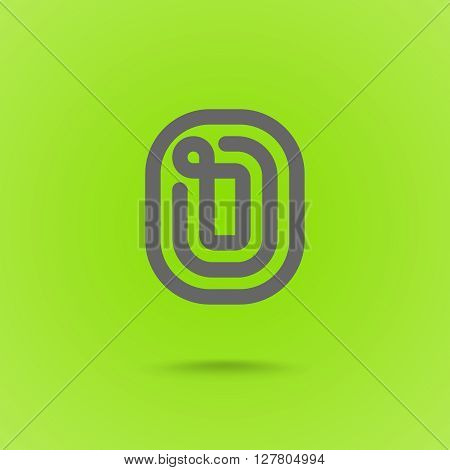 O Letter. O Line Logo Design Element Type. Letter O on Green Background