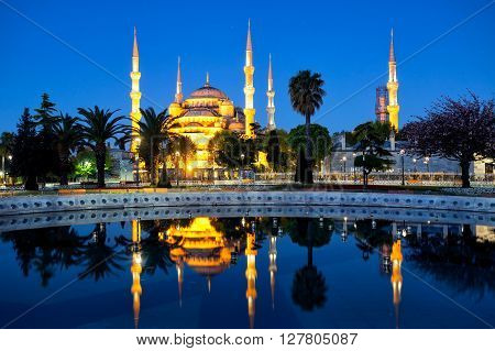 Sultanahmet Mosque (Blue Mosque) with reflection shot at night. Istanbul Turkey.