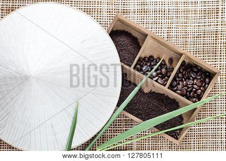 Vietnamese Robusta coffee in wooden box. Top view.