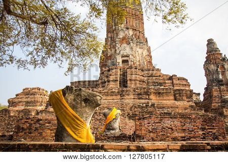 Ayutthaya historical park Buddha statues without head and old Brick in Ayutthaya Thailand