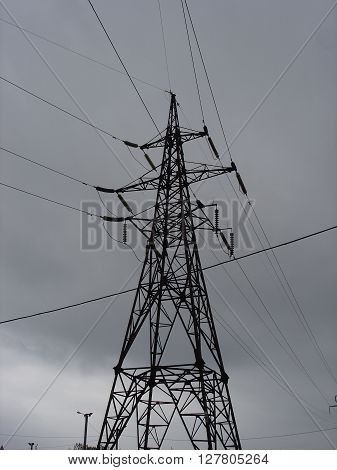 A transmission lattice steel tower (electricity pylon).