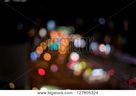 Blurred / Defocussed abstract background of city and highway lights taken in Japan