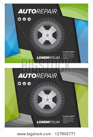 auto repair shop flayer with abstract background