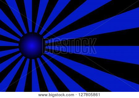 Illustration of dark blue and black rays with a blue ball