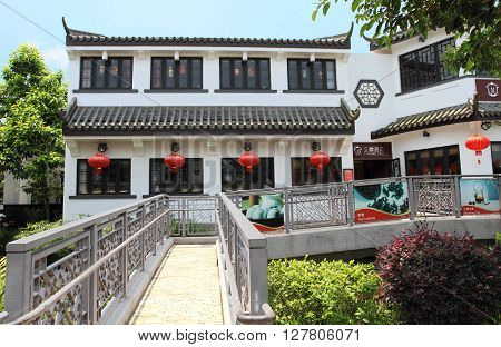 HONG KONG, CHINA - JULY 31, 2014: Oriental architecture of On Ping Market on July 31, 2014 in Hong Kong, China. On Ping Market in Lantau is one of the most popular tourist attractions in Hong Kong.