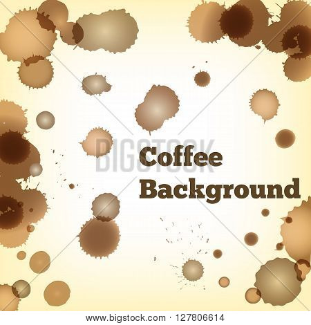 Dirty vector background with brown coffee splashes. Coffee drops and spots on paper.
