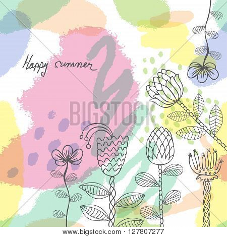 vector floral pattern with colorful  blooming flowers. hand drawn background