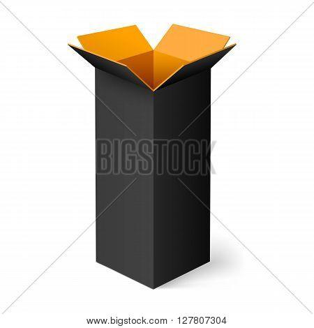Black opened rectangular box with orange color inside