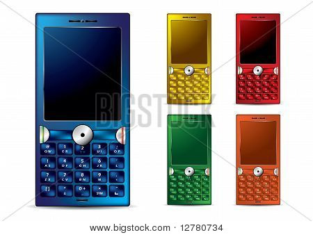 Different Color Mobile Smartphones - Original Vector Illustration