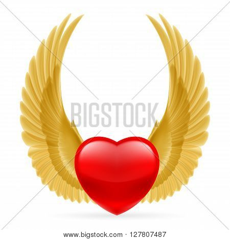 Red heart with golden yellow wings up.