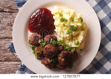Swedish Meatballs Kottbullar With A Side Dish Mashed Potato Closeup. Horizontal Top View