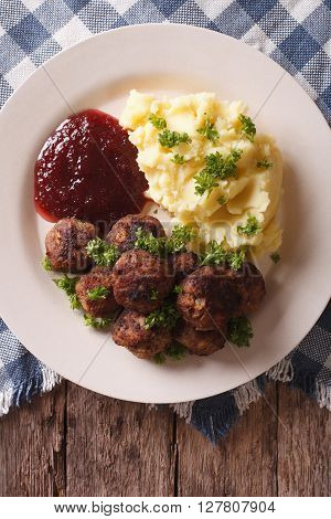 Swedish Meatballs Kottbullar With A Side Dish Mashed Potato Closeup. Vertical Top View