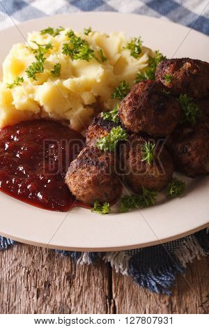 Fried Meatballs, Lingonberry Sauce With Potato Garnish Close-up. Vertical